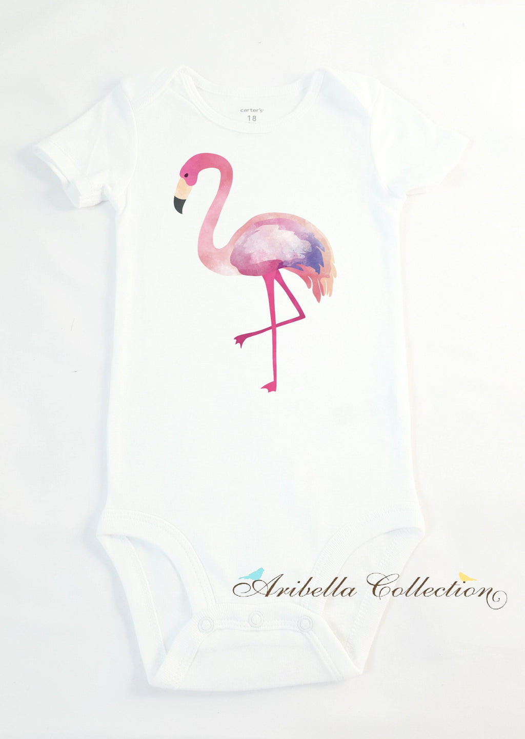 Flamingo Personalized T-shirt or Bodysuit - Aribella Collection