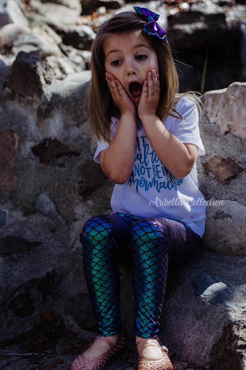 Mermaid Glitter Bodysuit or T-shirt, Iridescent Fish Scale Legging, & Hair Clip Bow Outfit Set - Aribella Collection