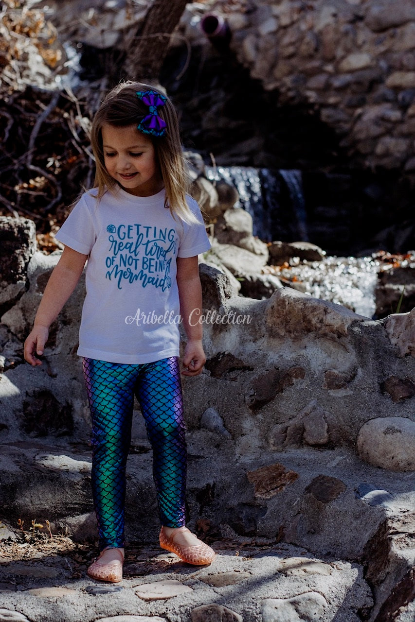 Mermaid Outfit Set - Confetti Dot Top, Leggings, & Hair Clip Bow - Aribella Collection