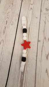 Silicone Pacifier Clip - Red Star - Aribella Collection