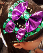 Mermaid Hair Clip Bow - Green, Aqua Blue, or Iridescent Color - Aribella Collection