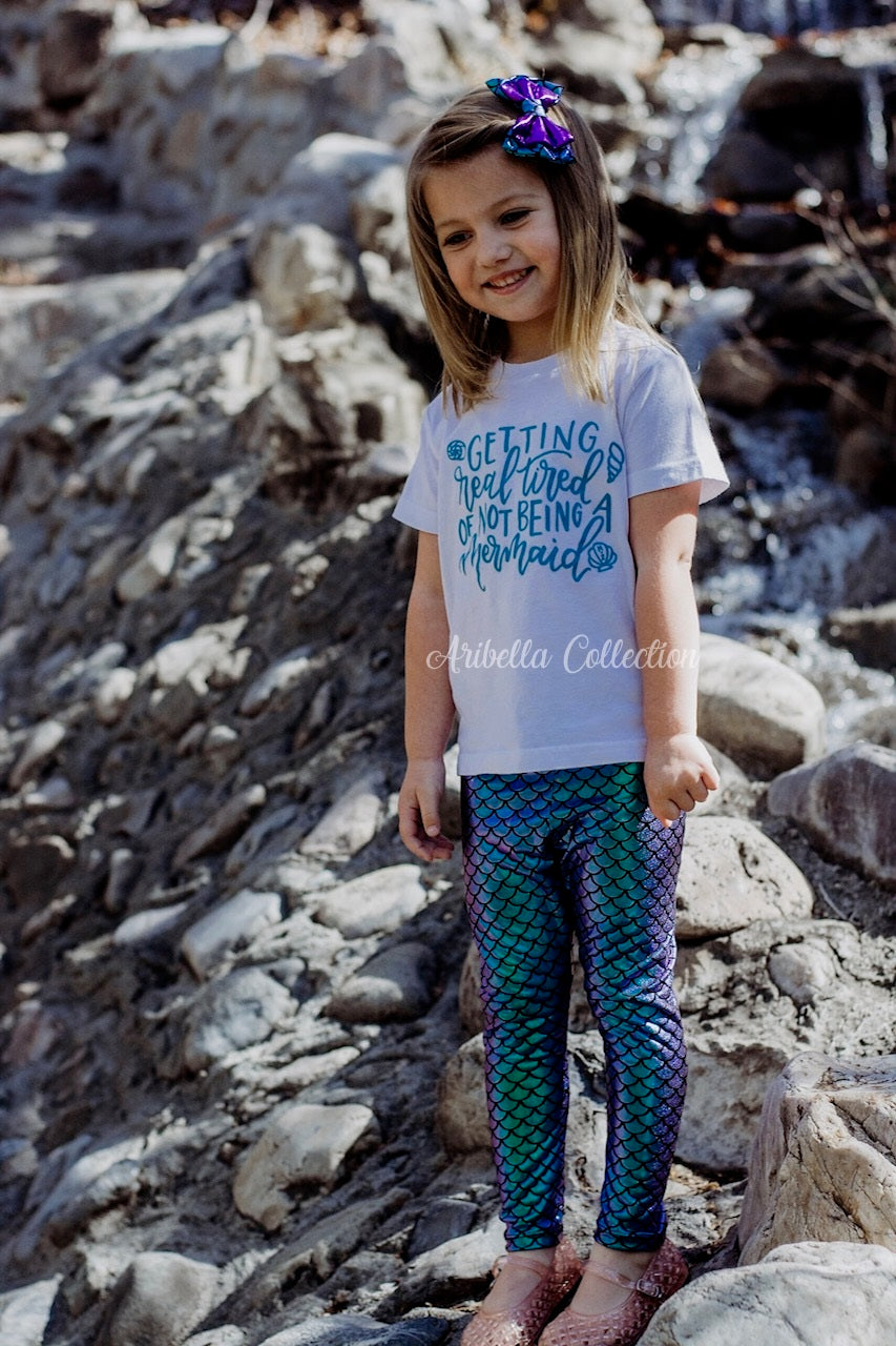 Mermaid Glitter Bodysuit or T-shirt, Legging, & Hair Clip Bow Outfit - Aribella Collection