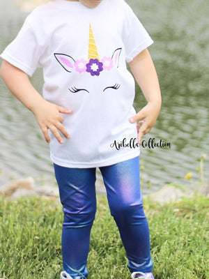 Unicorn Bodysuit or T-shirt & Iridescent Multi Color Legging Outfit - Aribella Collection