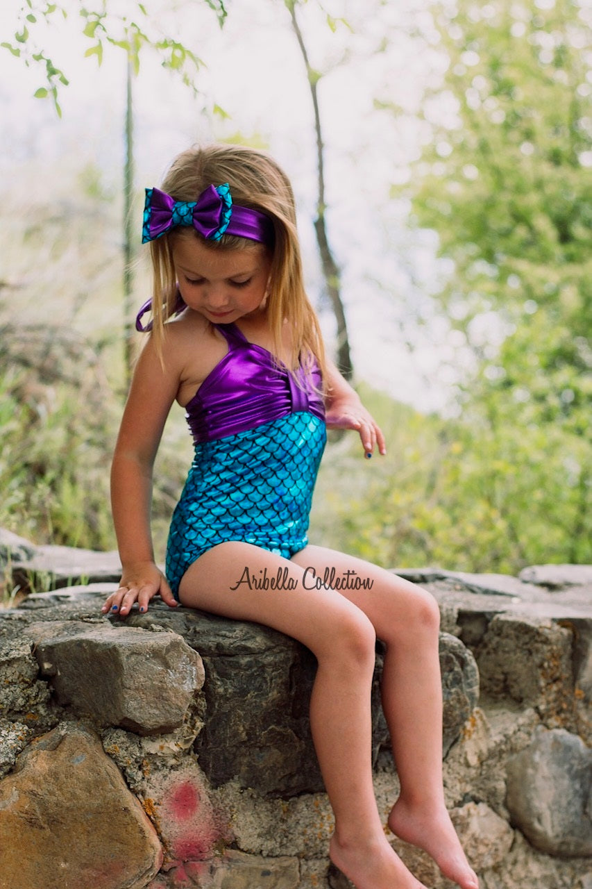 Mermaid One Piece Swimsuit - Aqua, Green, or Iridescent - Aribella Collection