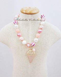 Ice Cream Bubble Gum Necklace & Bracelet - Pink - Aribella Collection