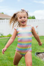 Unicorn Leotard Swimsuit - Sparkly Rainbow - Aribella Collection