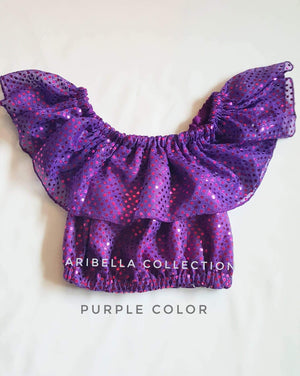 Confetti Dot Crop Top - Purple or Plum Color - Aribella Collection