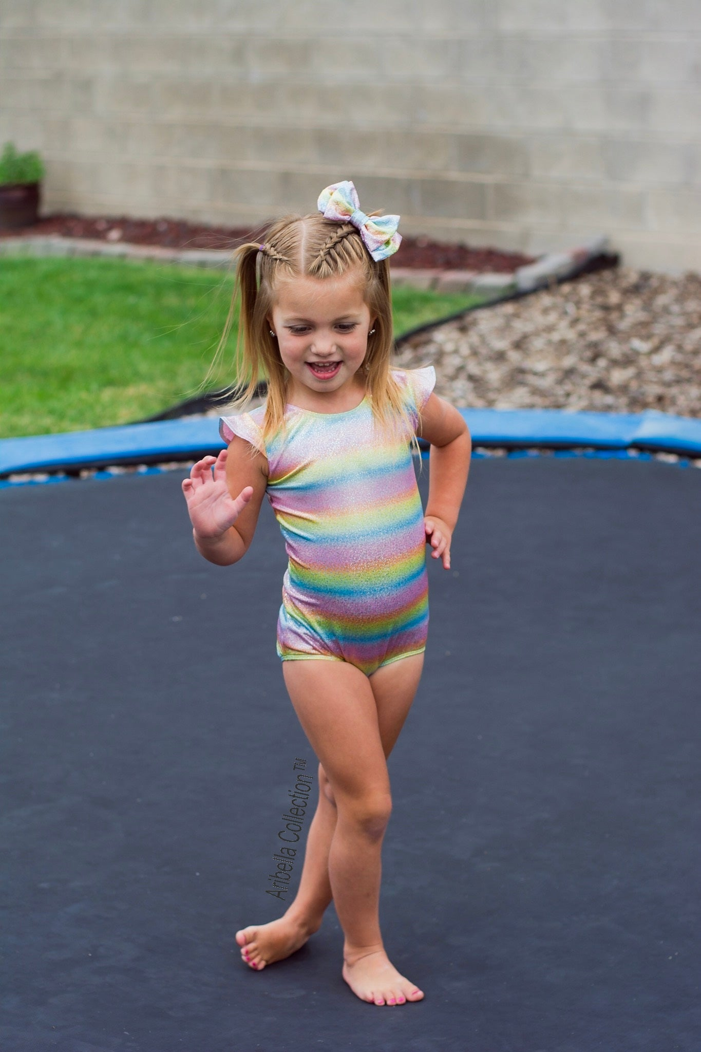 Unicorn One Piece Leotard Swimsuit - Sparkly Rainbow - Aribella Collection