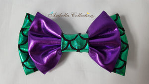 Mermaid Hair Clip Bow - Aqua Blue, Green, or Iridescent Color - Aribella Collection