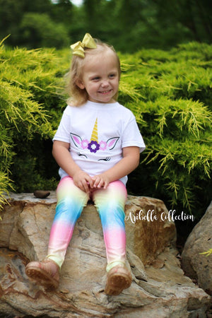 Unicorn Leggings - Rainbow - Aribella Collection