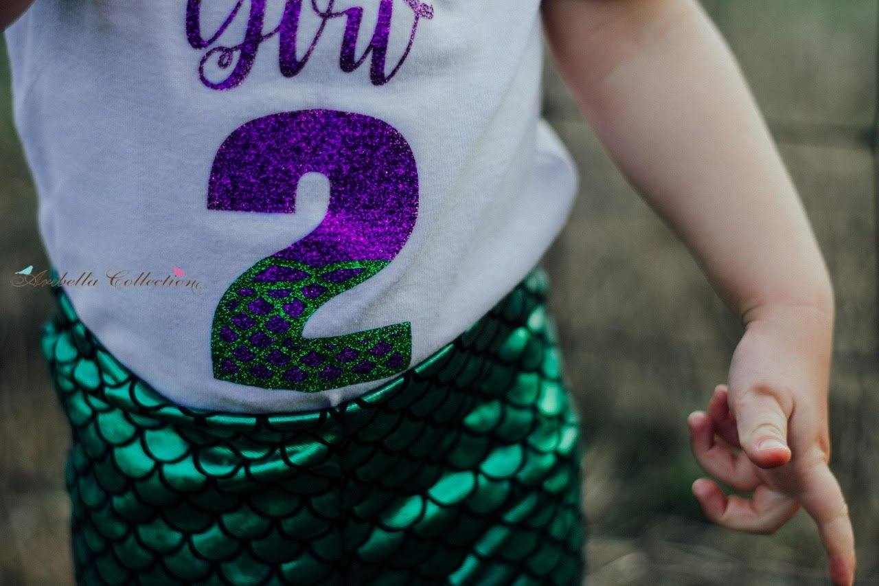 Mermaid Birthday Girl Outfit Set - Glitter Bodysuit or T-shirt, Emerald Green Legging, Hair Clip Bow - Aribella Collection