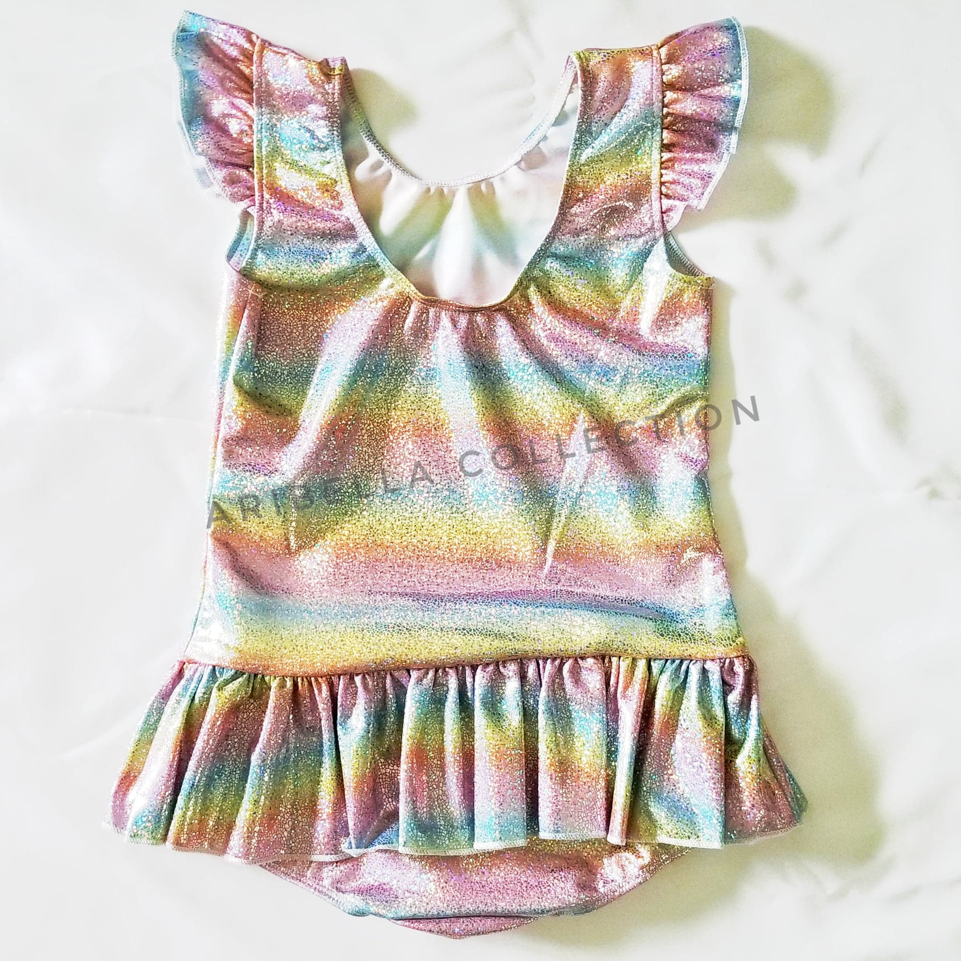 Unicorn One Piece Skirted Swimsuit Leotard - Sparkly Rainbow or Rainbow - Aribella Collection