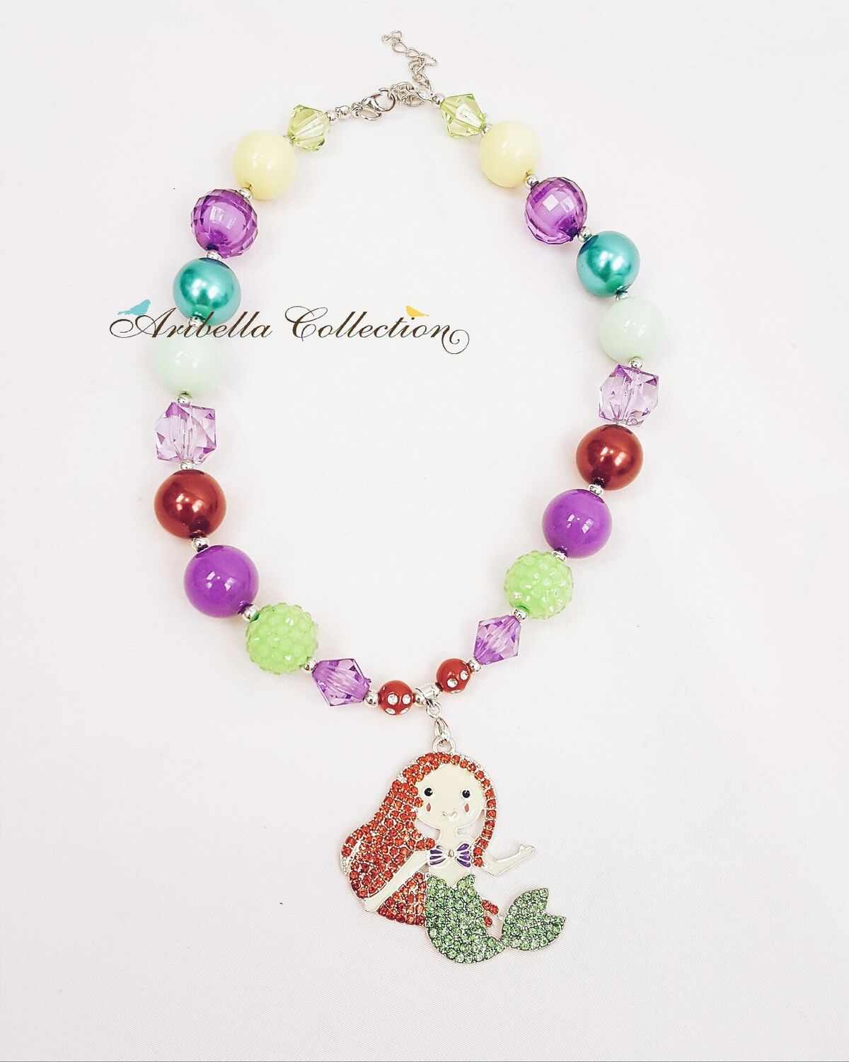 Mermaid Bubble Gum Chunky Necklace - Aribella Collection