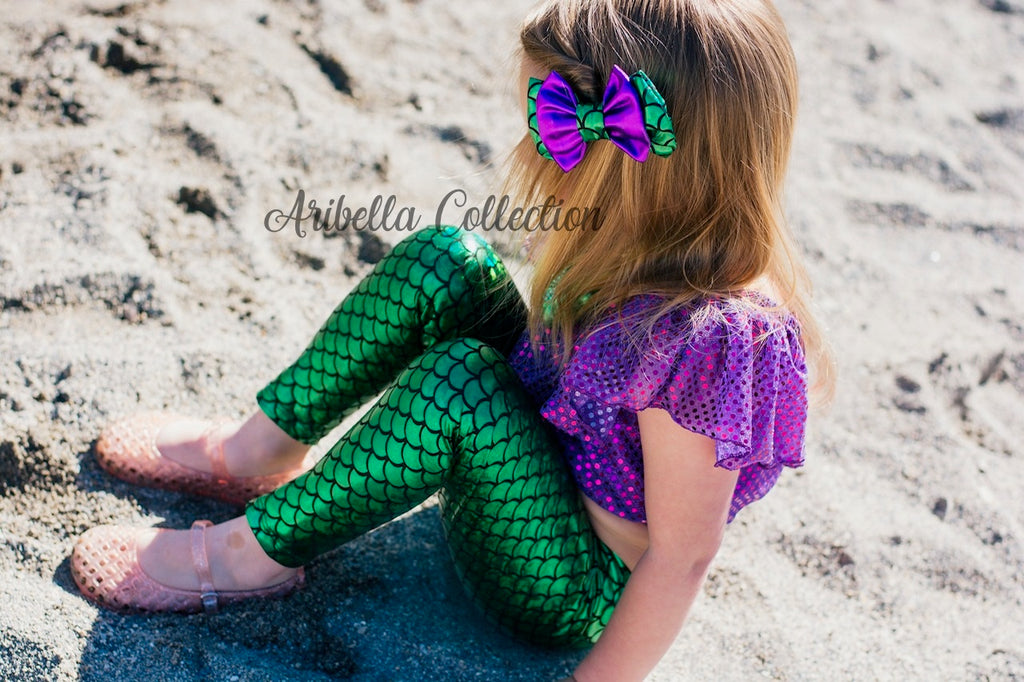 Mermaid Outfit Set - Purple or Plum Confetti Dot Top, Emerald Green Leggings, Hair Clip Bow - Aribella Collection