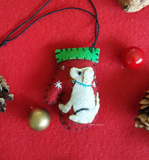 Puppy Dog Mitten Felt Ornament - Aribella Collection