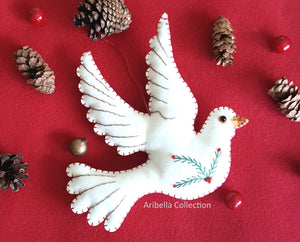 White Dove Felt Ornament - Aribella Collection