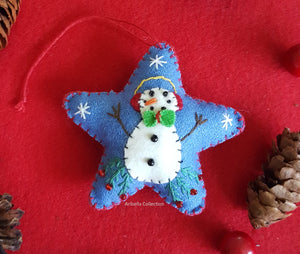 Snowman Blue Star Felt Ornament - Aribella Collection