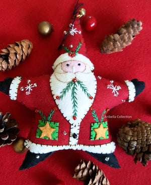 Santa Claus Star Felt Ornament - Aribella Collection