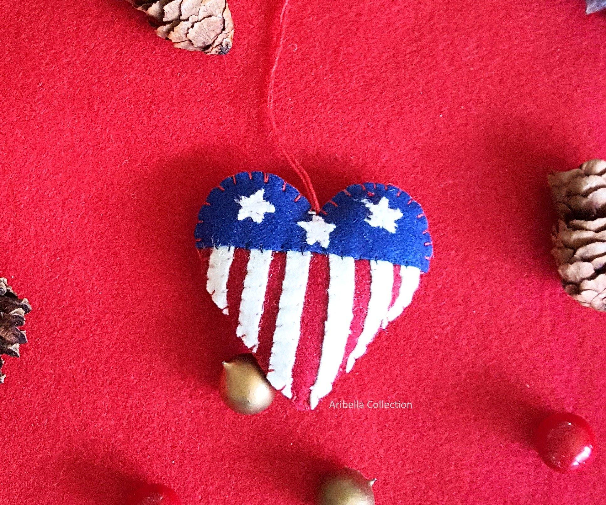 America Flag Heart Felt Ornament - Aribella Collection