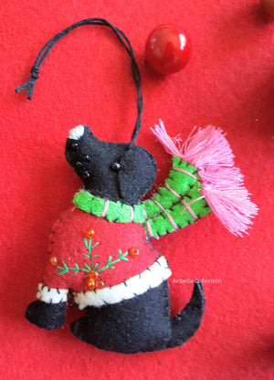 Black Puppy Dog Felt Ornament - Aribella Collection