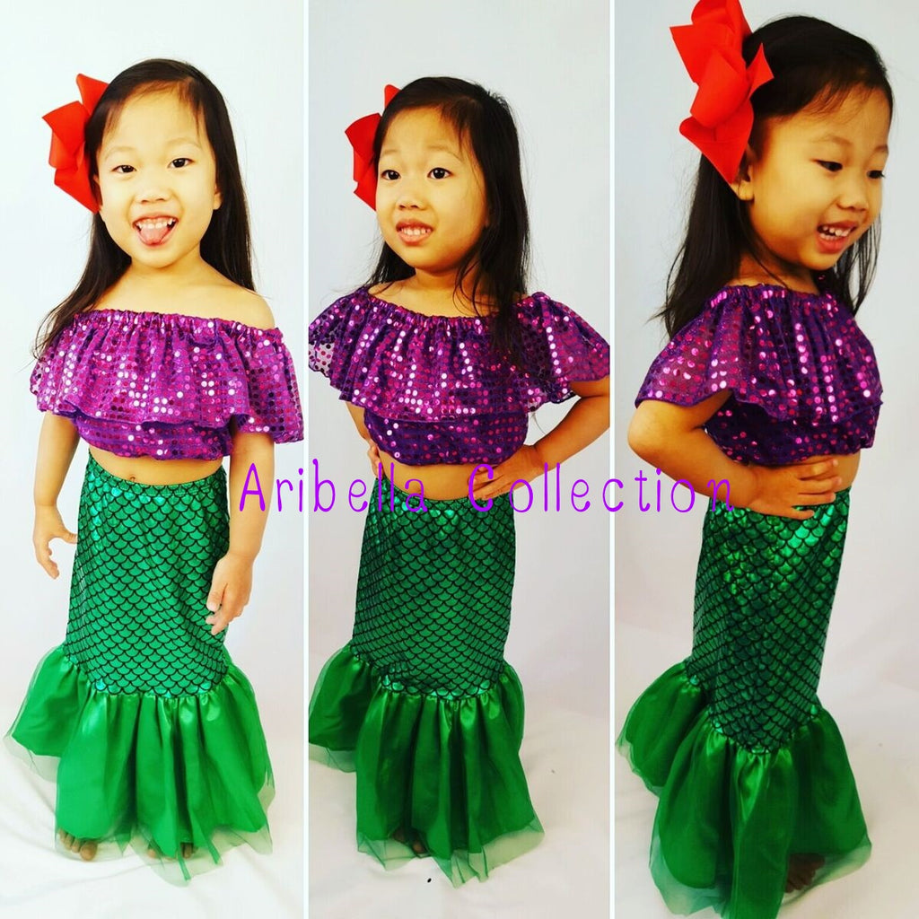 Mermaid Outfit Set - Confetti Dot Top, Skirt, & Hair Clip Bow - Aribella Collection