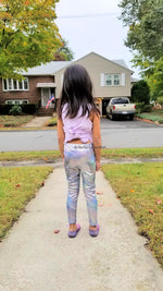 Unicorn Leggings - Shiny Metallic Galaxy Silver Multi Color - Aribella Collection
