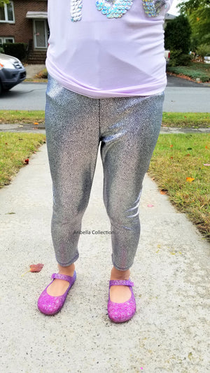 Unicorn Leggings - Dragon Scale Dinosaur Metallic Silver - Aribella Collection