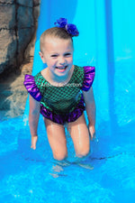 Mermaid One Piece Ruffle Bottom Swimsuit Leotard - Green/Purple - Aribella Collection