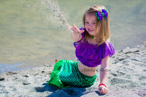 Mermaid Outfit Set - Purple or Plum Confetti Dot Top, Walkable Tail Skirt, Hair Clip Bow - Aribella Collection