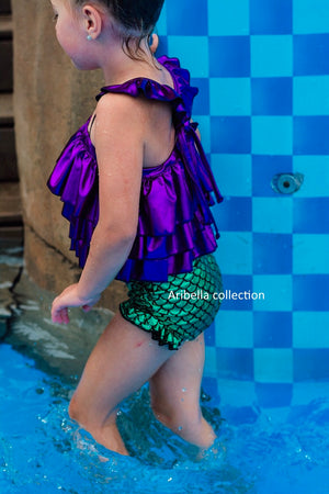 Mermaid Two Piece Swimsuit Multi Ruffle Top - Green/Purple - Aribella Collection