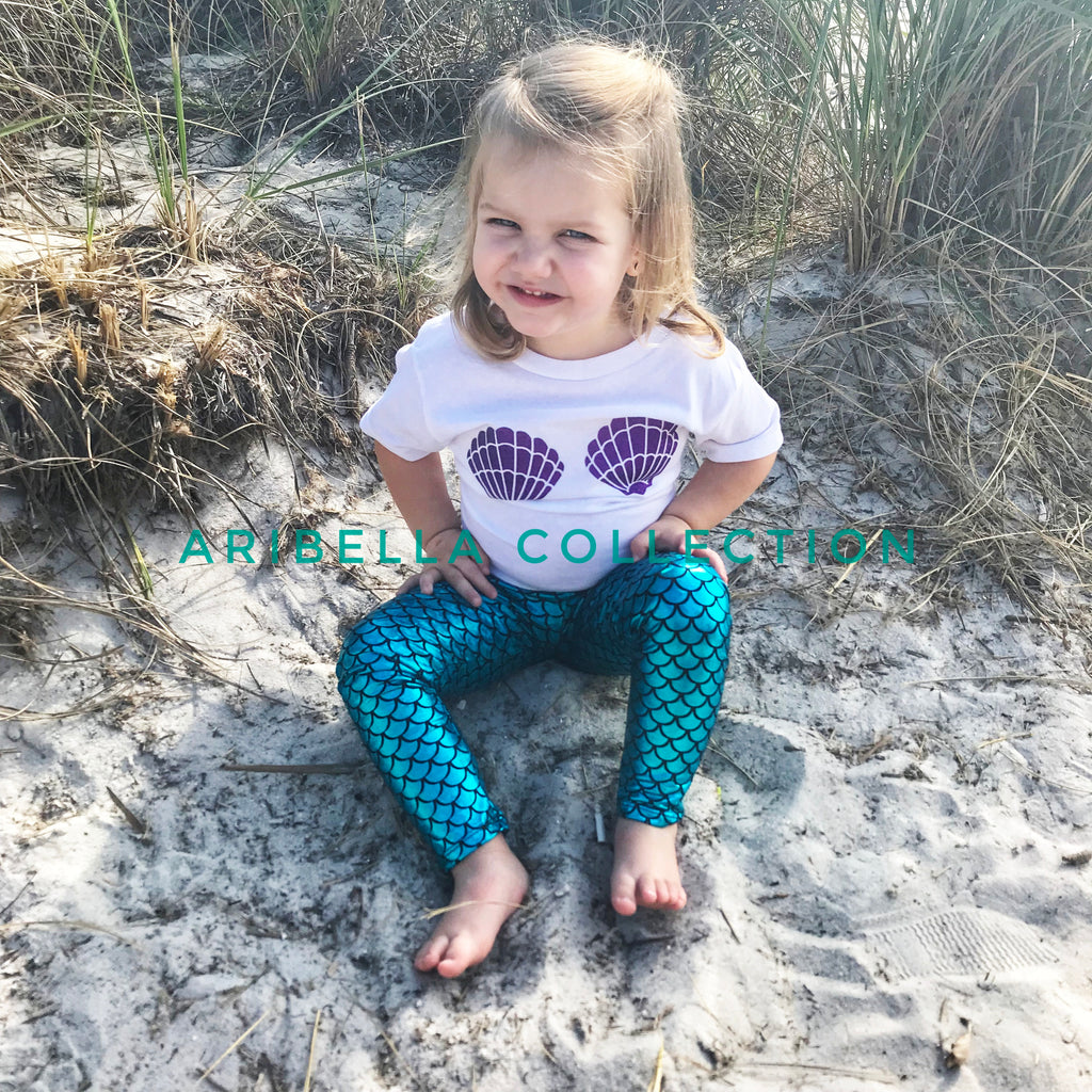 Mermaid Sea Shell Glitter Bodysuit or T-shirt, Aqua Blue Fish Scale Legging, & Hair Clip Bow Outfit Set - Aribella Collection