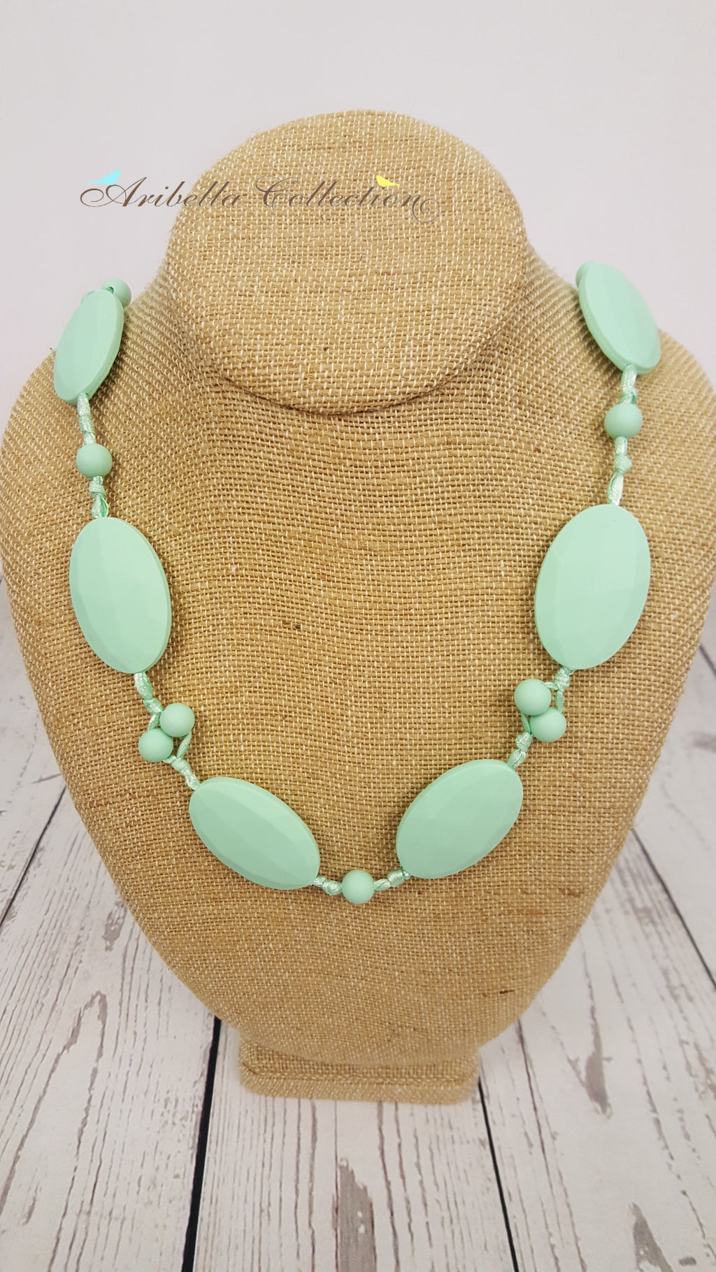 Silicone Necklace - Mint Oval - Aribella Collection