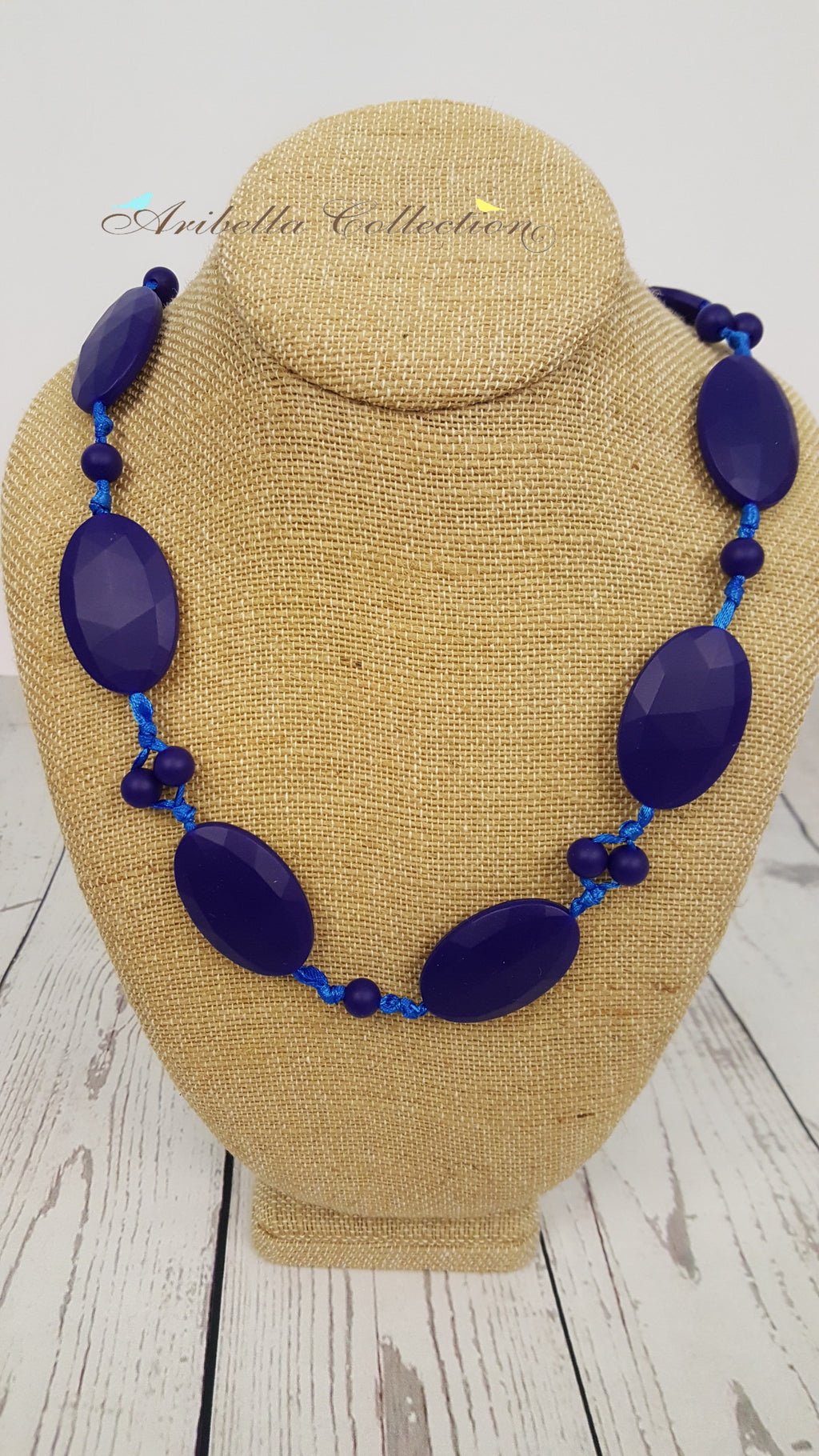 Silicone Necklace - Dark Blue Oval - Aribella Collection