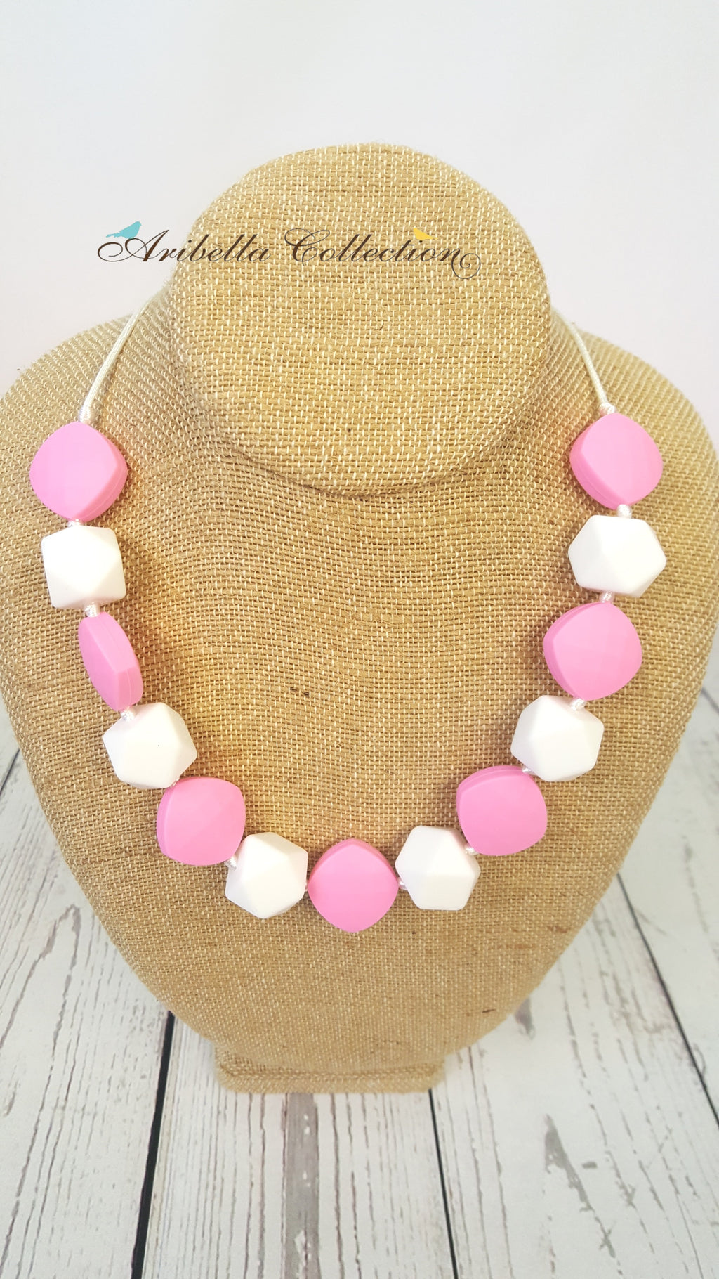 Silicone Necklace - Pink/White - Aribella Collection