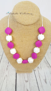 Silicone Necklace - Hot Pink/White - Aribella Collection