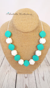 Silicone Necklace - Turquoise/White - Aribella Collection