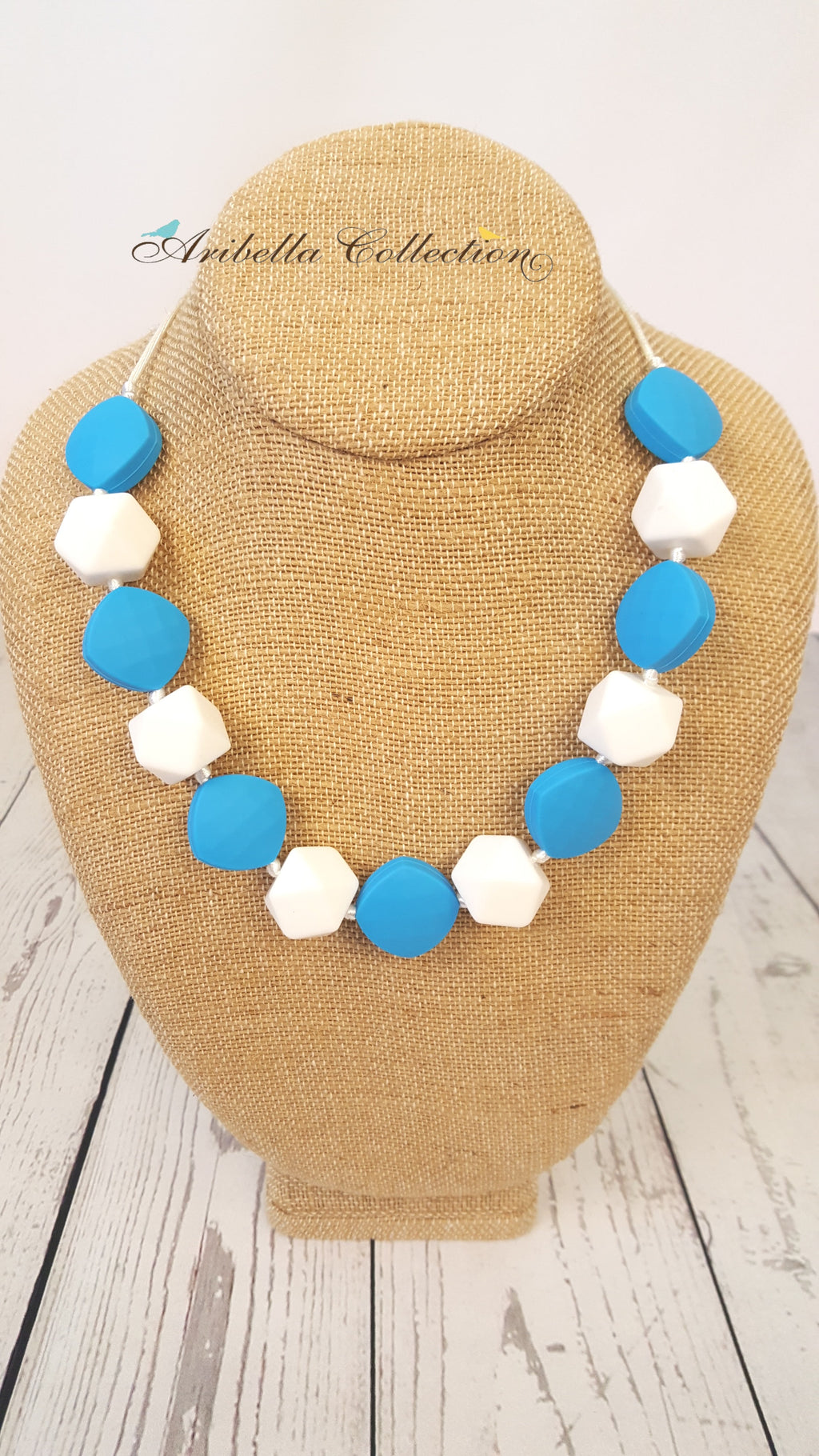 Silicone Necklace - Blue/White - Aribella Collection