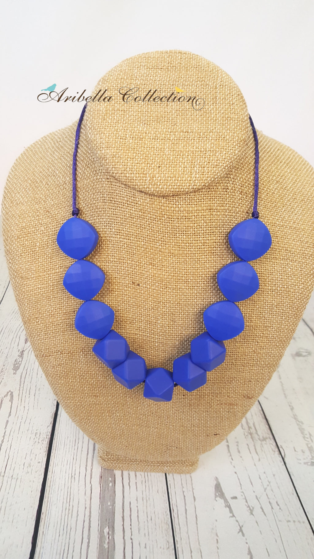 Silicone Necklace - Blue - 2 Shapes - Aribella Collection