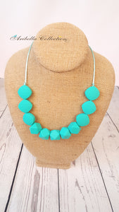 Silicone Necklace - Turquoise - 2 Shapes - Aribella Collection