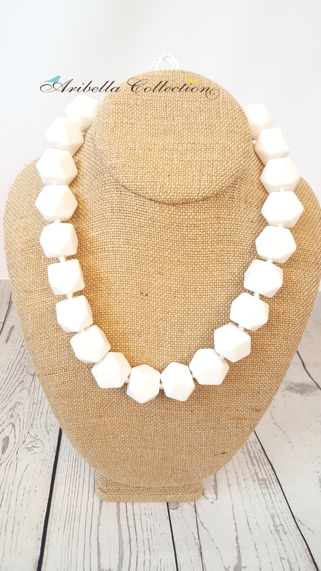 Silicone Necklace - White - Aribella Collection