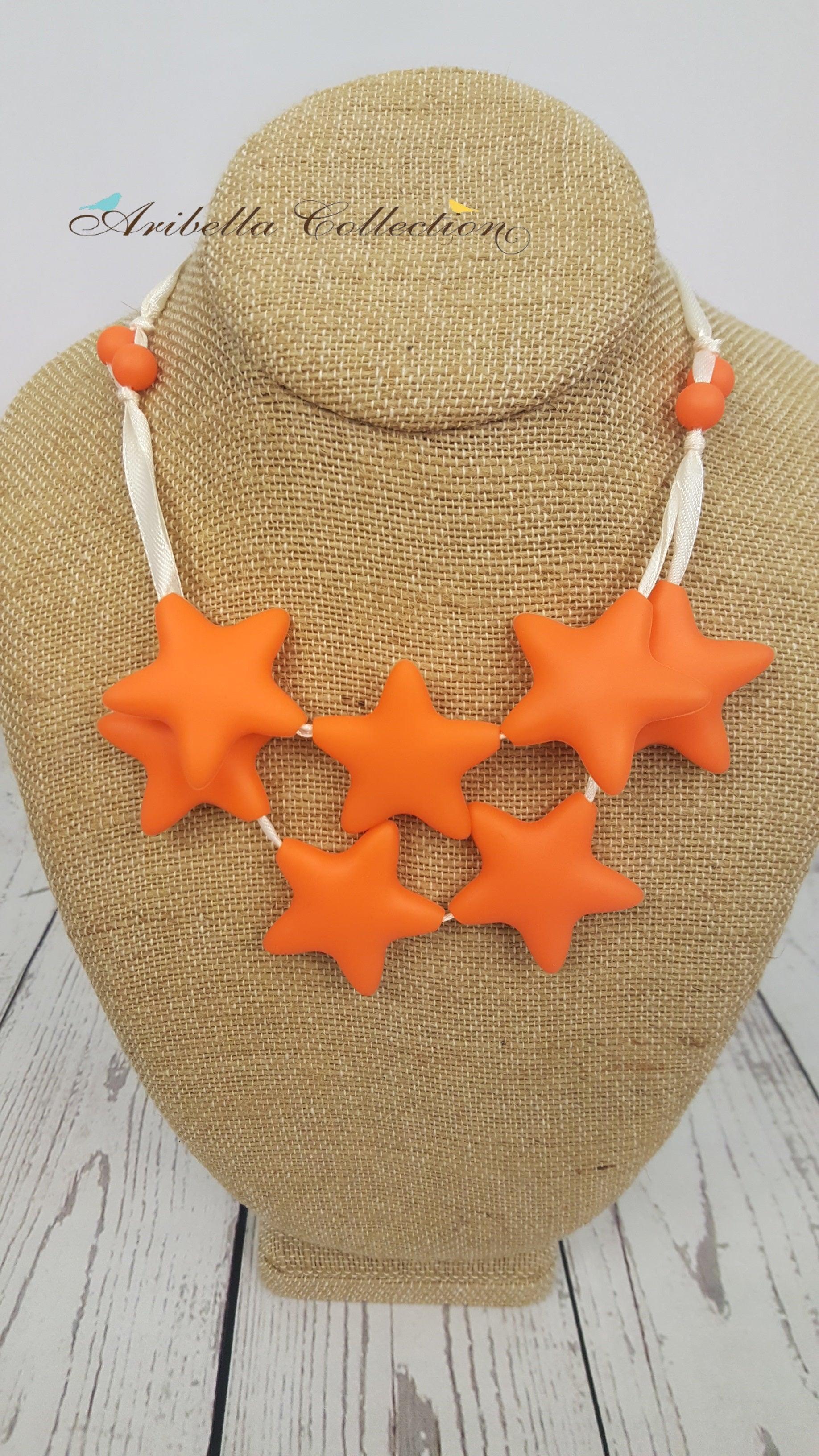 Silicone Necklace - Orange Star - Aribella Collection