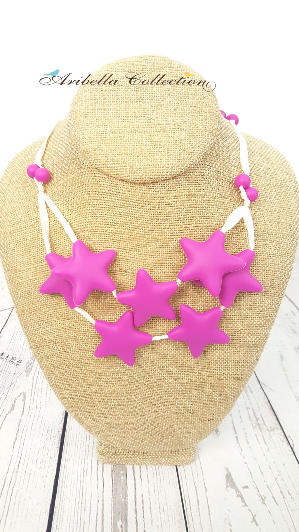 Silicone Necklace - 7 Hot Pink Star - Aribella Collection
