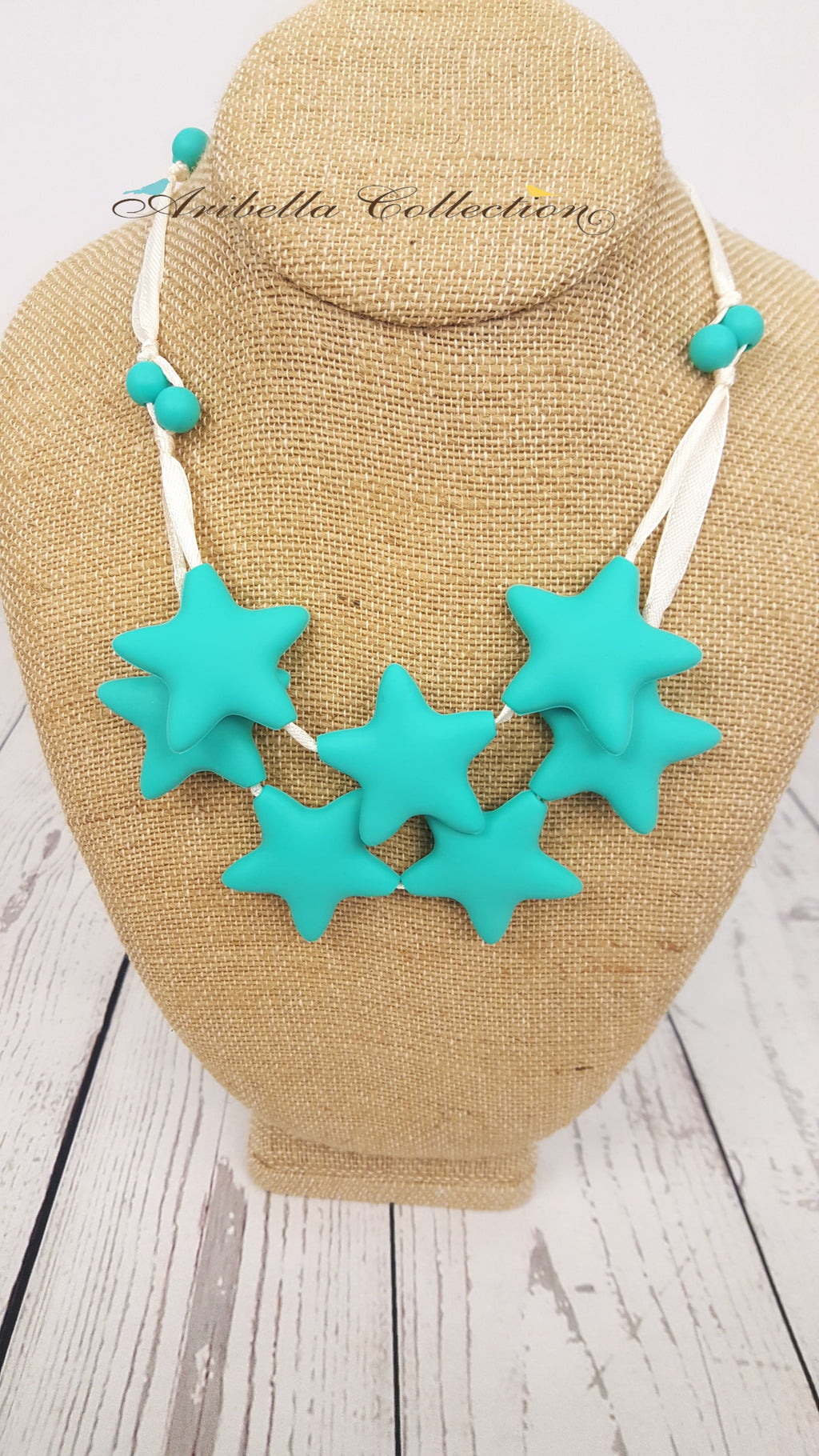 Silicone Necklace - 7 Turquoise Star - Aribella Collection