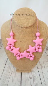 Silicone Necklace - Pink Star - Aribella Collection