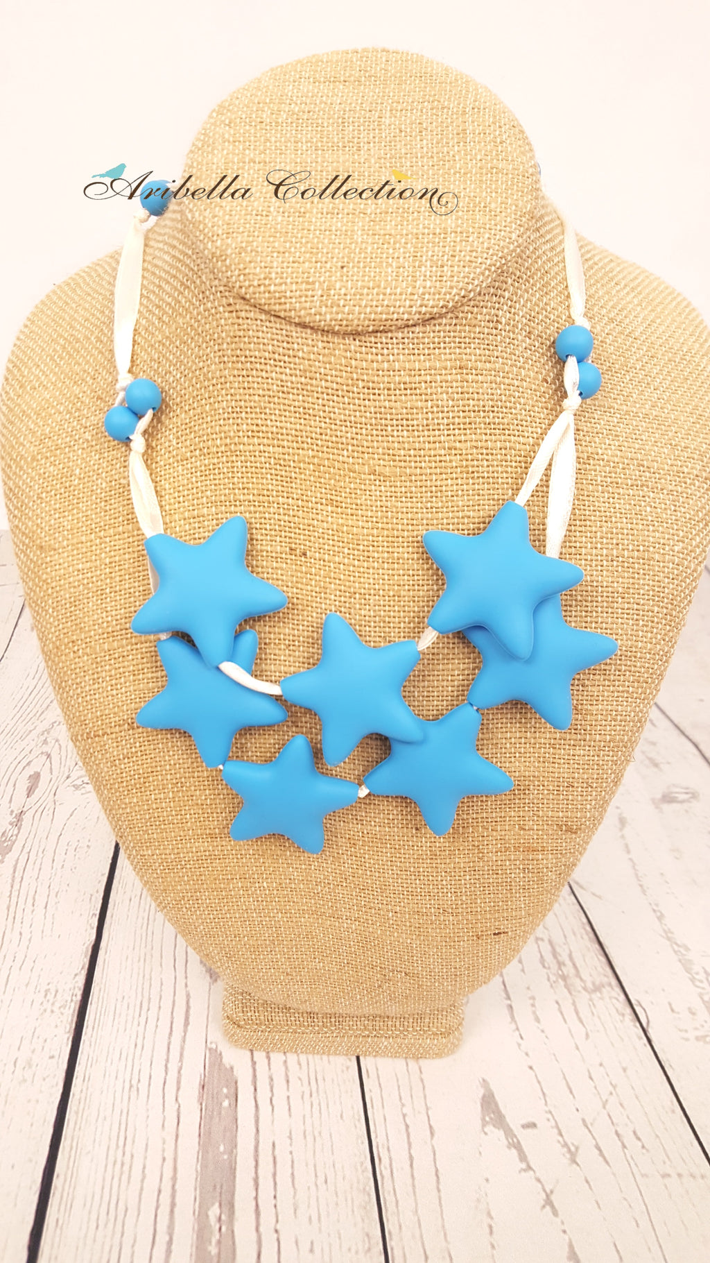 Silicone Necklace - 7 Blue Star - Aribella Collection