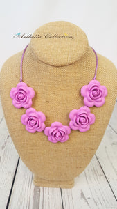 Silicone Necklace - Purple Flower - Aribella Collection