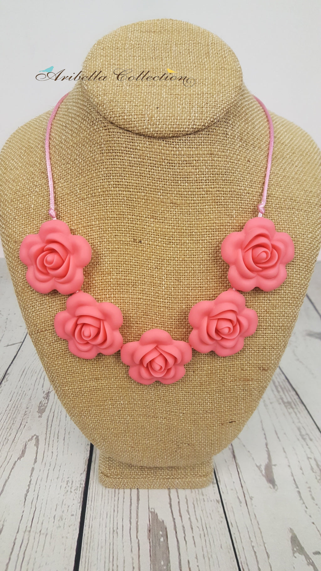 Silicone Necklace - Peach Flower - Aribella Collection
