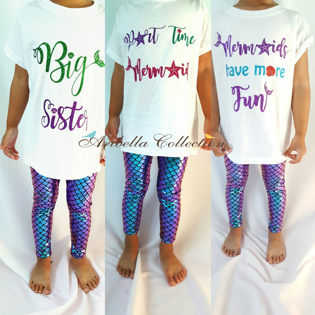 Mermaid Glitter Bodysuit or T-shirt, Iridescent Multi Color Fish Scale Legging, & Hair Clip Bow Outfit Set - Aribella Collection
