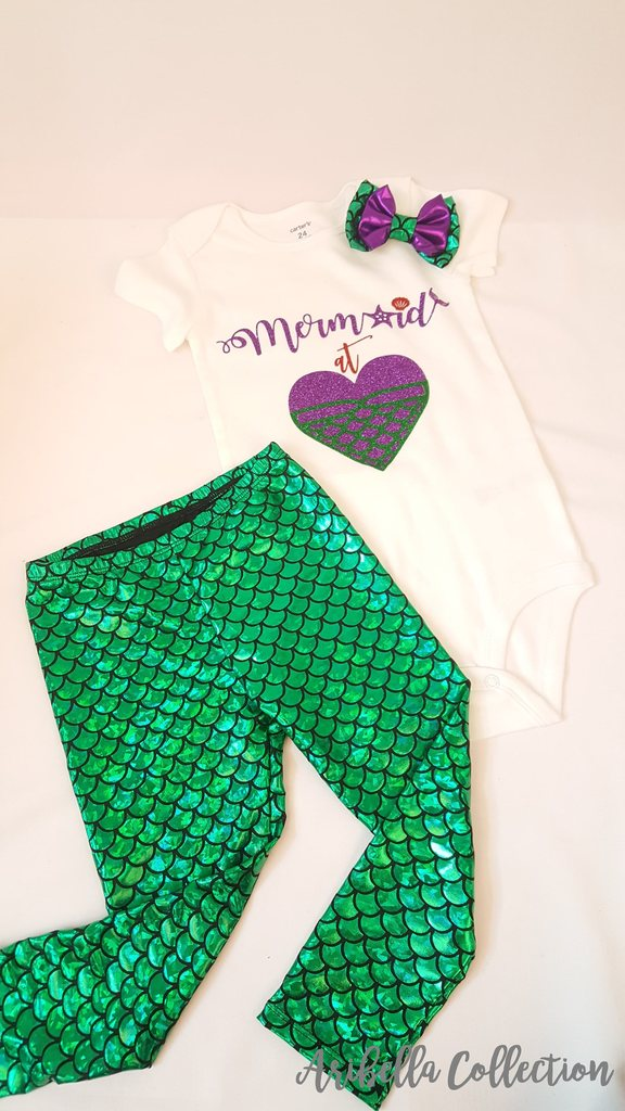 Mermaid At Heart Outfit Set - Glitter Bodysuit or T-shirt, Emerald Green Legging, Hair Clip Bow - Aribella Collection