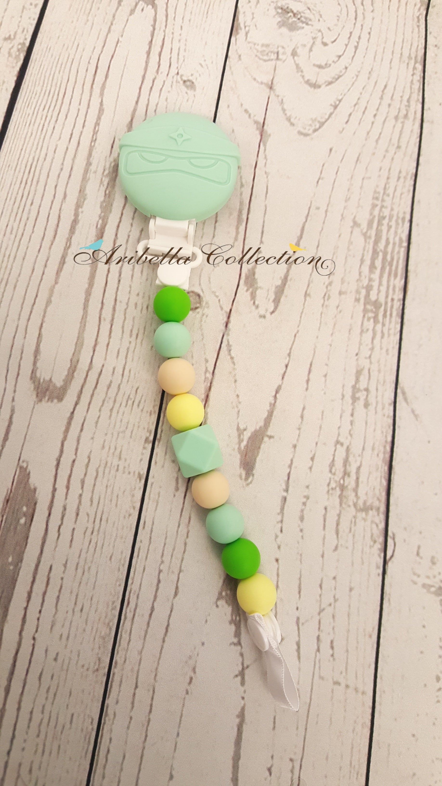 Silicone Pacifier Clip - Mint Turtle - Aribella Collection